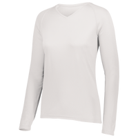 Augusta Sportswear Team Attain Wicking Long Sleeve T-shirt - Women's - All White / White