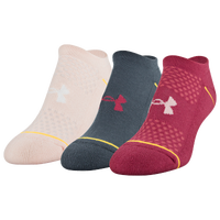 Under Armour Phenom 3 Pack No Show Socks - Women's - Pink / Grey