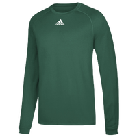 adidas Team Climalite Long Sleeve T-Shirt - Men's - Dark Green / White