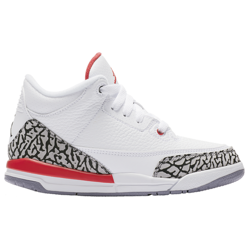 Jordan Retro 3 Boys Preschool Basketball Shoes Whitefired