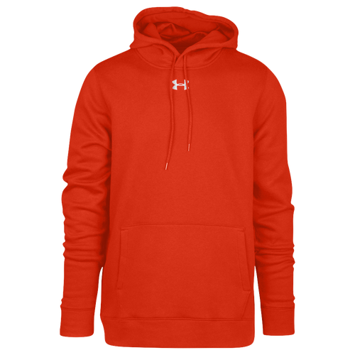 Under Armour Team Hustle Fleece Hoodie - Men's Baseball - Dark Orange/White 30123860
