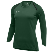 Nike Team Breath Elite L/S Top - Women's - Dark Green / White