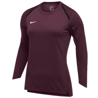 Nike Team Breath Elite L/S Top - Women's - Maroon / White