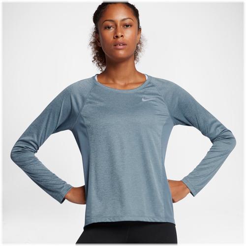 Nike Dri-FIT Miler Long Sleeve T-Shirt - Women's - Running - Clothing - Armory  Blue/Heather