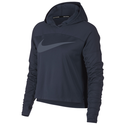 Nike Dry Core Graphic Hoodie - Women's Running - Obsidian/Thunder Blue 33195474