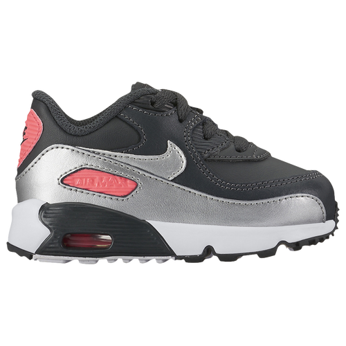 Nike Air Max 90 - Girls' Toddler - Casual - Shoes - Anthracite/Met  Silver/Hot Punch