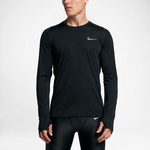 c2594a601cb51 Nike Dri-FIT Miler Long Sleeve T-Shirt - Men s - Running - Clothing -  Black Black Reflective Silver