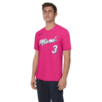 Nike NBA City Edition Name & Number T-Shirt - Men's -  Dwyane Wade - Miami Heat - Pink