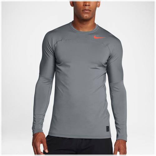 Nike Hyperwarm Fitted Long Sleeve Top - Men's - Training - Clothing - Cool  Grey/Hyper Crimson/Hyper Crimson