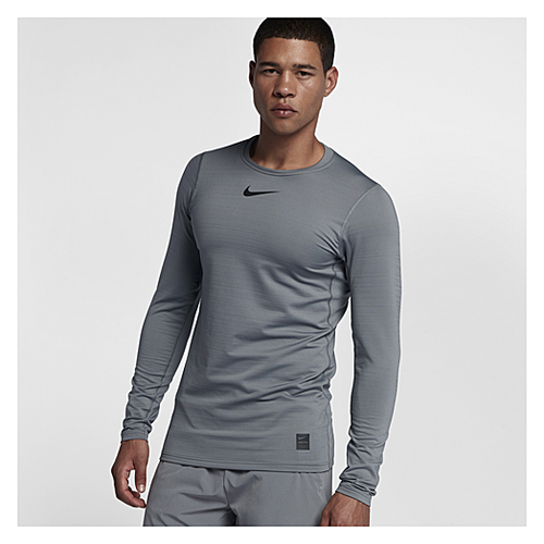 Nike Warm Fitted Long Sleeve Top - Men's Training - Cool Grey/Hyper Crimson/Black 38048065