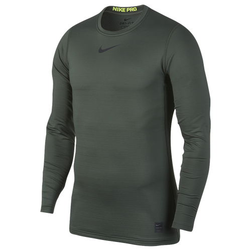 Nike Warm Fitted Long Sleeve Top - Men's Training - Vintage Green/Volt/Black 38048372