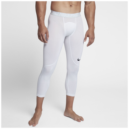 Nike Pro 3/4 Compression Tights - Men's - Training - Clothing - White/Pure  Platinum/Black