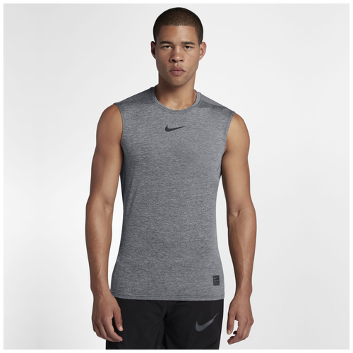 Nike Pro Fitted Sleeveless Top - Men's - Training - Clothing - Carbon  Heather/Black/Black