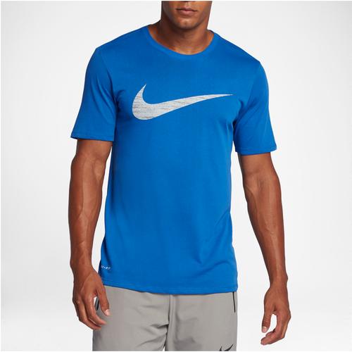 Nike Dri-FIT Cotton Heather Swoosh T-Shirt - Men's Training - Game Royal/Silver 39893480