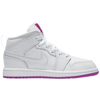 Jordan AJ 1 Mid - Girls' Preschool - White / Pink