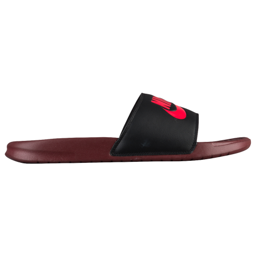 Nike Benassi JDI Slide - Men's - Casual - Shoes - Dark Red/Solar Red/Black