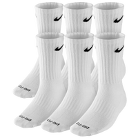 Nike 6 Pack Dri-FIT Crew Socks - Men's - White / Black