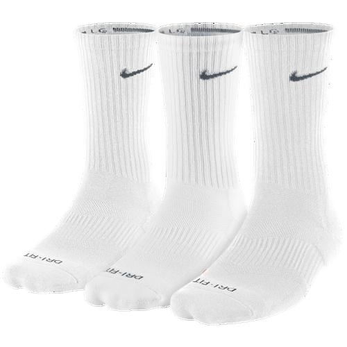 Nike 3PK Dri Fit 1/2 Cushion Crew Socks   Mens   Training   Accessories   White