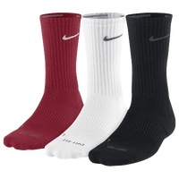 Nike 3PK Dri-FIT 1/2 Cushion Crew Socks - Men's - Red / White
