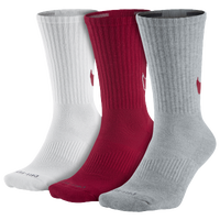 Nike 3PK Dri-FIT Cushion Crew Socks - Men's - White / Red