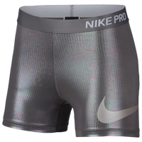 "Nike Pro 3"" Compression Shorts - Women's - Silver / Grey"