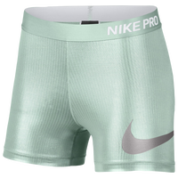"Nike Pro 3"" Compression Shorts - Women's - Light Green"