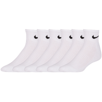 Nike 6 Pack Cotton Quarter Socks - Men's - All White / White