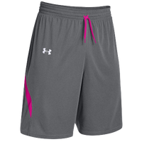 Under Armour Youth Team Clutch Reversible Shorts - Boys' Grade School - Grey / Pink