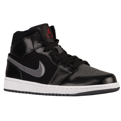Jordan AJ 1 Mid - Men's - Basketball - Shoes - Black/Gym Red/Dark Grey/White