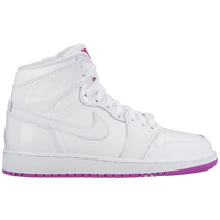 Jordan AJ 1 Mid - Girls' Grade School - White / Purple