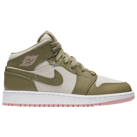 Jordan AJ 1 Mid - Girls' Grade School - Off-White / Olive Green