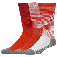 Nike 3 Pack Dri-FIT Max Crew GFX Socks - Men's - Red / White