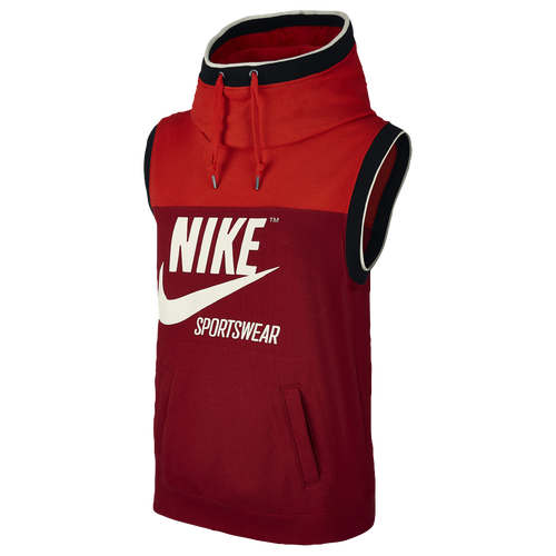 Nike Archive Sleeveless Hoodie - Women's Casual - Rush Red/Tough Red/Sail 55705675