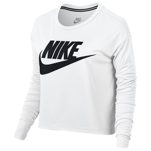 8083324999a5 ... Nike Essential Long Sleeve Crop Top - Women s - Casual - Clothing -  White Black . ...