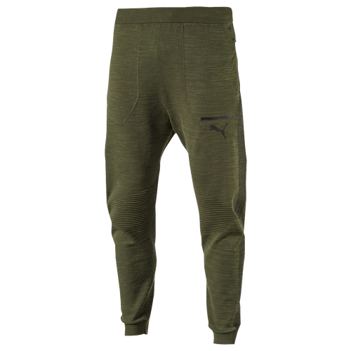 PUMA Evoknit Tech Pants - Men's - Casual - Clothing - Olive Night