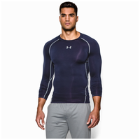 Under Armour HeatGear Armour Comp L/S T-Shirt - Men's - Navy / Grey