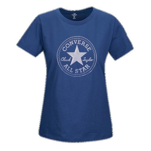 Converse Foil Gradient Crew T-Shirt - Women's Casual - Navy 5792A05
