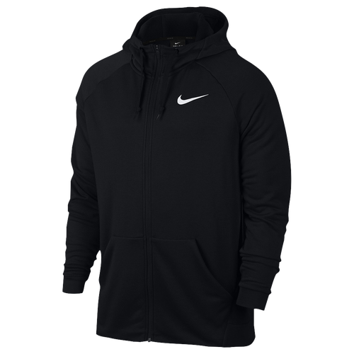 Nike Lightweight Full-Zip Fleece Hoodie - Men's Training - Black/White 60465010
