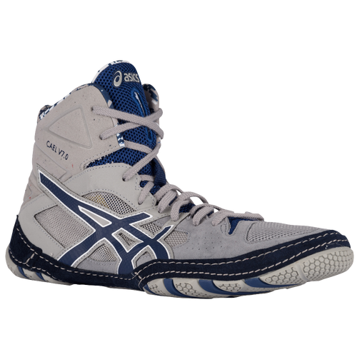 ASICS? Cael V7.0 - Men's Wrestling Shoes - Light Grey/Estate Blue/White 605Y9652