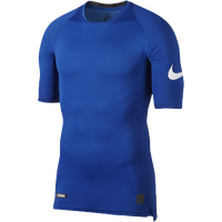 Nike Football 1/2 Sleeve Compression Top - Men's - Blue / White