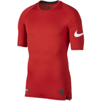 Nike Football 1/2 Sleeve Compression Top - Men's - Red / White