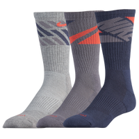 Nike 3PK Dri-FIT Cushion Crew Socks - Men's - Navy / Grey