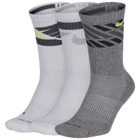 Nike 3PK Dri-FIT Cushion Crew Socks - Men's - White / Grey