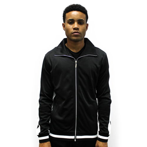 American Stitch Tricot Full Zip Track Jacket - Men's Casual - Black/White 779BKWH