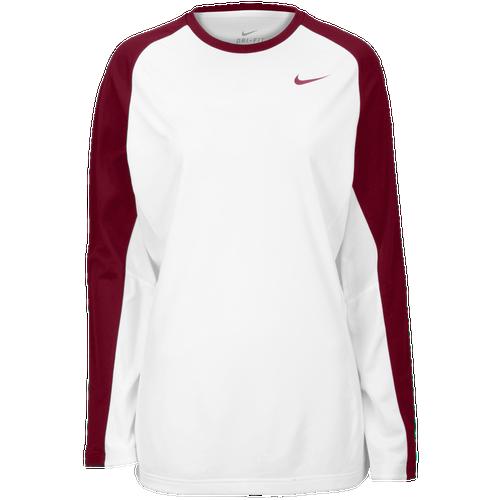 Nike Team Elite L/S Shooting Shirt - Women's Basketball - White/Team Maroon 83342115