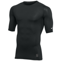 Nike Team 1/2 Sleeve Compression Top - Men's - Black / White