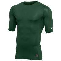 Nike Team 1/2 Sleeve Compression Top - Men's - Dark Green / White