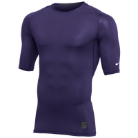 Nike Team 1/2 Sleeve Compression Top - Men's - Purple / White