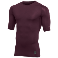 Nike Team 1/2 Sleeve Compression Top - Men's - Cardinal / White