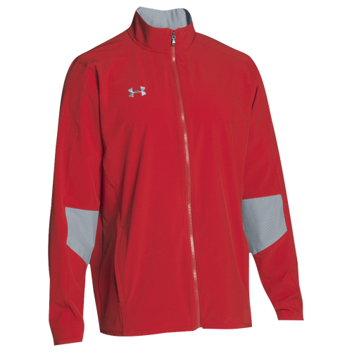 Under Armour Team Squad Woven Warm Up Jacket - Men's Baseball - Red/Steel 93911600